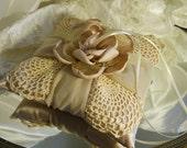 Bridal Ring Bearer Wedding Pillow handmade of satin and vintage crochet.