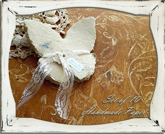 Set of 10 Handmade Recycled Butterfly Paper, Natural Off White in Color with Rose of Sharon Petals