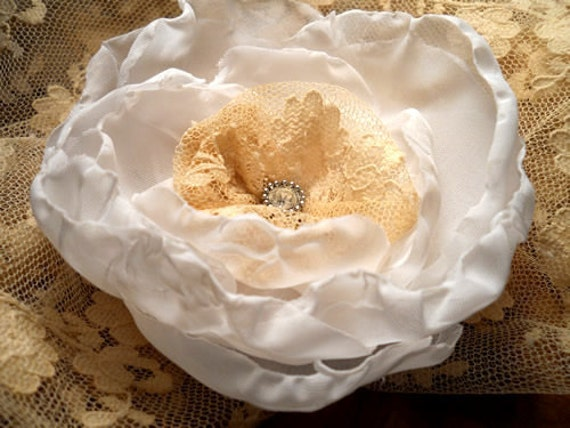 """Wedding Rose Flower Hair Clip, handmade of  fabric, lace and a vintage finding. """"READY TO SHIP"""""""