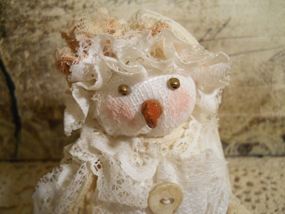 One of a Kind, Vintage Snowman, Handmade of Vintage Lace & Embellishments. FREE SHIPPING