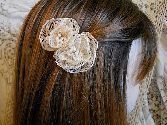 Set of 2 Vintage Flower Bobby Pins, handmade of vintage tea stained lace.