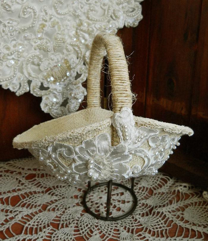Handmade Jute Baskets : Flower girl wedding basket handmade of burlap by