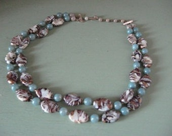 Double Strands Marblized Beaded Necklace 60s era Stunning