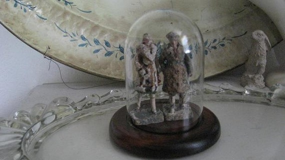 Reserved for Kyndi Rudzena   Frozen In TiMe 1940s Figurines Under Glass Cloche
