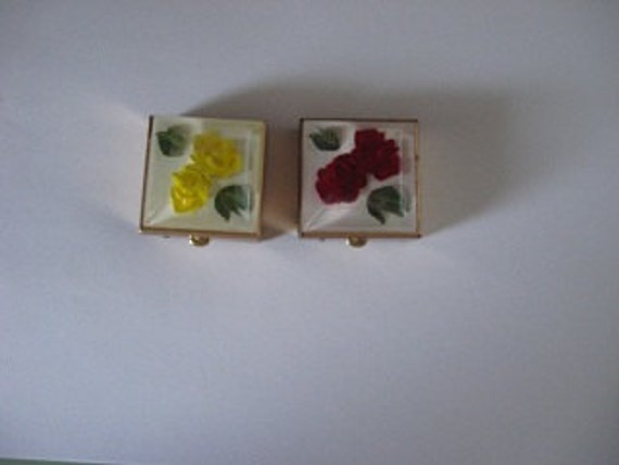 Two Vintage Pill Boxes Red and Yellow Roses Gold Metal Compact Cases