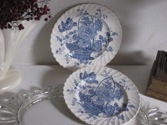 Two Blue and White Plates England