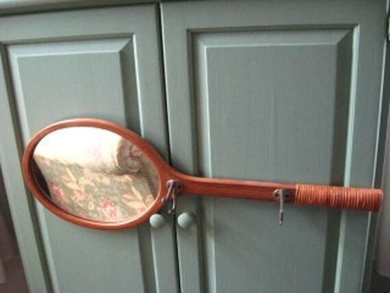 Wooden Tennis Racket Mirror Hooks Wall Rack Vintage 1970s