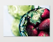 "summer photo kitchen art food photography decor strawberry photograph emerald green 5x7 wall art print spring farmers market ""Strawberries"""