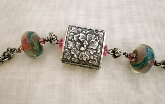 Poetic Peony sterling bracelet with focal by Anne Choi