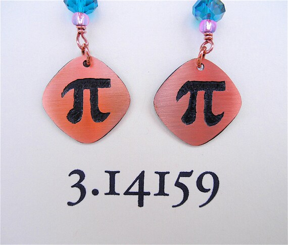 Pi Geeky Mathematics Copper Etched Earrings