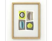 FOLIAR - 8x10 Giclee Print - Clean Modern Abstract Mid Century Retro Leaves Foliage