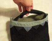 Handbag, denim and prairie points, blue colors trim, compact size