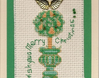 Cross Stitch Christmas Card Pear Tree Wish You A Merry Christmas Finished Completed