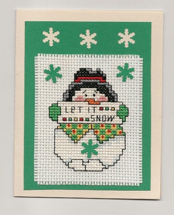 Finished Completed Cross Stitch Christmas Card Snowman