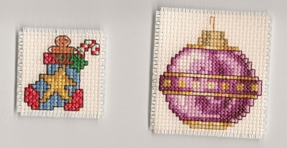 Finished Completed Cross Stitch Christmas Magnets x 2  Ornament Stocking