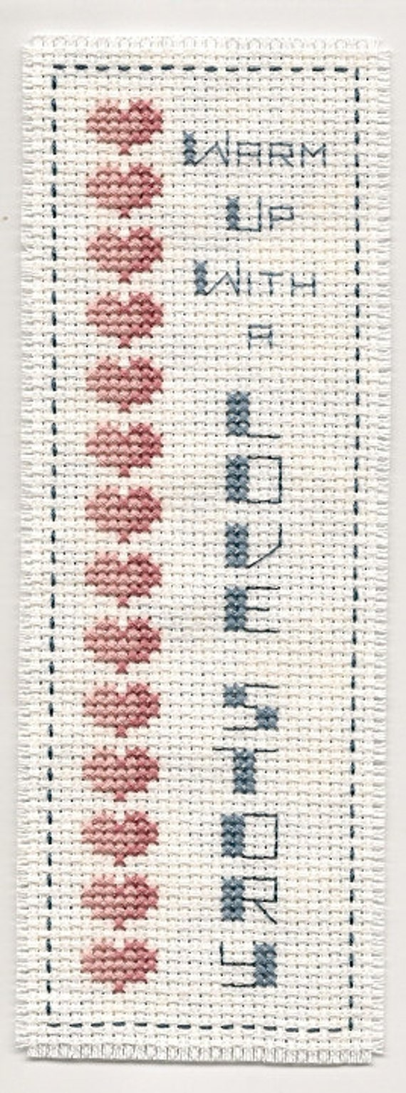 Cross Stitch  Bookmark Love Story Finished Completed Handmade