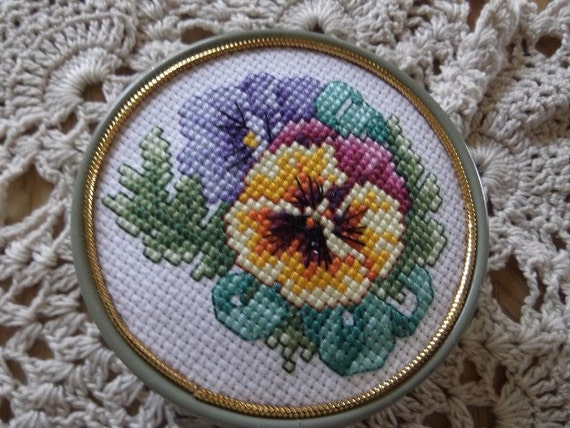 Finished Counted Cross Stitch Piece Pansies Recycled Large KIWI Mink Oil Tin OOAK Handmade