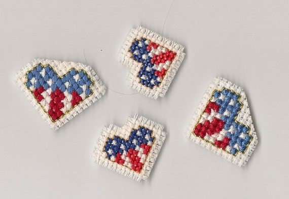 Finished Completed Cross Stitch, Red, White and Blue, Flag Magnets