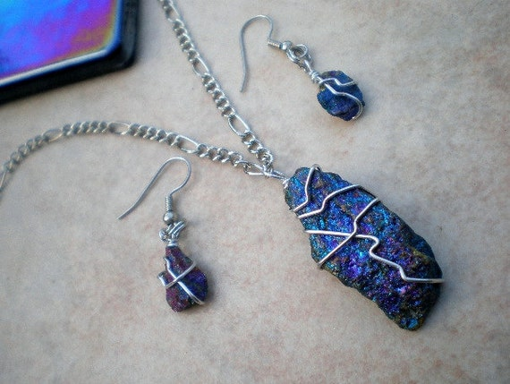 Chalcopyrite Peacock Ore Jewelry Set by IsamarML on Etsy
