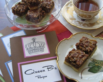 DIY Recipe for Pecan Squares in Queen B's Recipe Folder