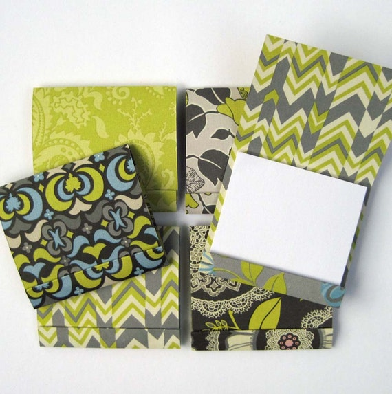 Matchbook Notepads in Amy Butler Greens and Grays - Set of 6