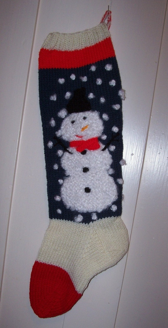 Knitted Christmas Stocking Patterns Personalized : Hand Knit Christmas Stocking Snowman Personalized : Custom Order for Christma...