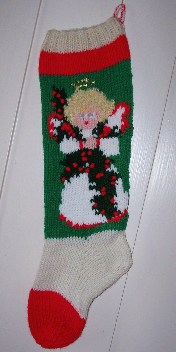 Knitting Pattern For Christmas Stocking Personalized : New Hand Knit Christmas Stocking Angel Personalized