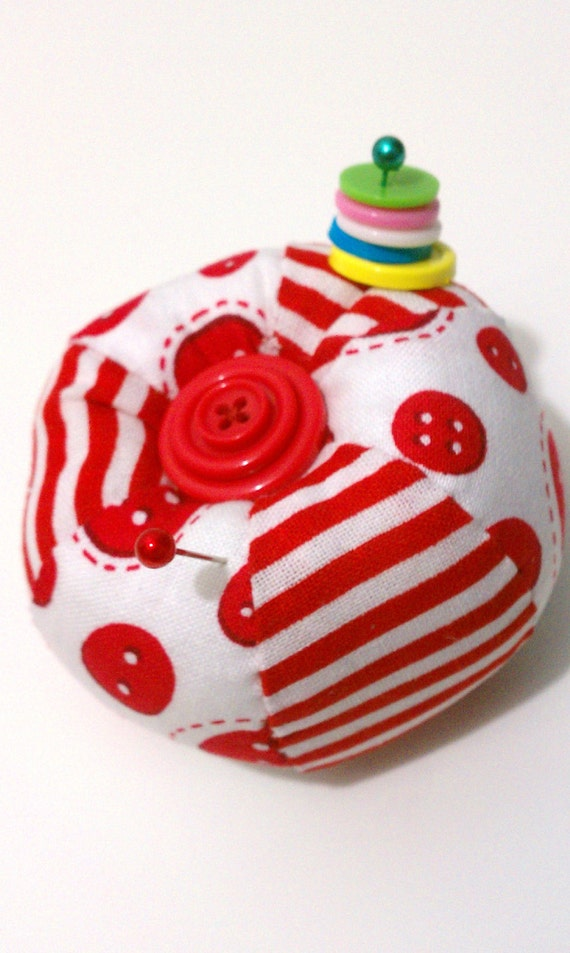 Whimsical Button and Striped Red Pin Cushion