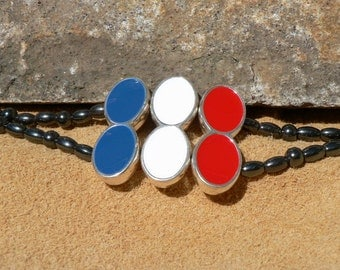 Hematite Magnetic beads Patriotic Red, White & Blue  with easy on/off Magnetic clasp