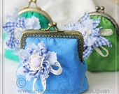 square metal frame purse blue Japanese cotton  lace button cotton fabric flower ready to ship