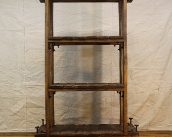 Vintage Industrial Style Shelf, Bookcase on Casters with Reclaimed Wood