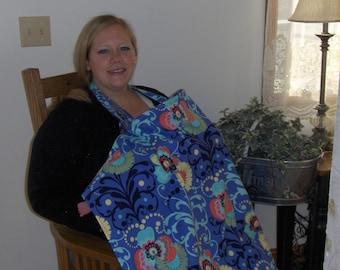 Nursing Cover:  Amy Butler Paradise Garden, Periwinkle