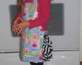 Fairy Tale Princess Toddler Girls Apron & Chef's Hat Set