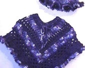 Blueberry Pie Poncho and Matching Hat CROCHET PATTERN - INSTANT Download