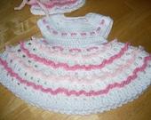 Spring has Sprung Baby Girl Dress and Matching Hat CROCHET PATTERN