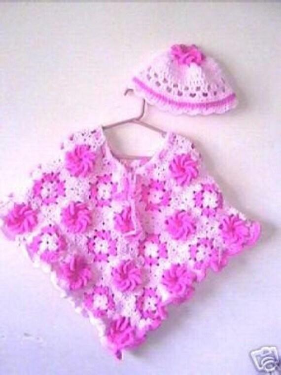 Granny Square Flower Girls Poncho Crochet Pattern Instant