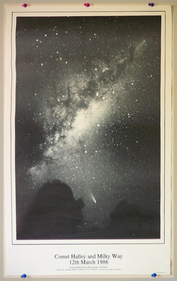 Vintage Space Poster - Halley's Comet