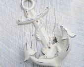 Cast Iron Wall Hook / Shabby Nautical Anchor in Creamy White