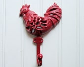 25% Off SALE - Ready to Ship / Shabby Rooster Hook / Cast Iron Rooster Refinished in Barn Red / Farmhouse Chic