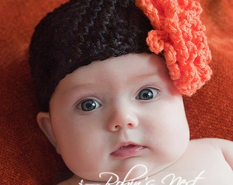 Crochet Beanie with 2 Flowers PDF Pattern No 31, All Sizes Newborn Infant Toddler Child Adult Permission to sell Finished Items