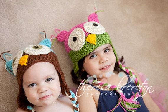 Crochet Pattern Owl Hat Photo Prop all sizes PDF Pattern No 22 Permission to Sell Finished Items