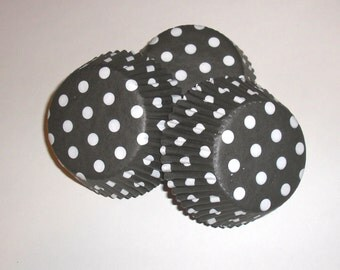 Black and White Polka Dot Cupcake Liner Wrappers- 50 Count