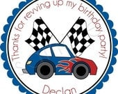Vroom Vroom Hot Rod Car In Blue/Red Personalized Stickers -  Party Favor Labels, Address Labels, Birthday Stickers, Racecar - Choice of Size