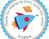Blast Off Personalized Stickers - Party Favor Labels, Gift Tag, Birthday Stickers, Space, Rocket, Outer Space, Galaxy - Choice of Size