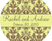 Vintage Chic Damask Personalized Stickers - Wedding Favor Labels, Envelope Seals, Bridal - Choice of 6 Distressed Damask Patterns and Size