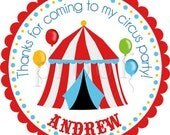 Big Top Circus Tent Personalized Stickers - Party Favor Labels, Address Labels, Birthday Stickers, Baby Shower, Carnival - Choice of Size