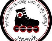 Roller Skate Bash For Boy Personalized Stickers - Birthday Party Favor Labels, Address Labels, Roller Blades, Rollerblades - Choice of Size