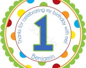 Polka Dot Birthday Number Personalized Stickers - Party Favor Labels, Address Labels, Gift Tag, Birthday Stickers - Wide Polka Dot Border