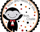 Halloween Dracula 2 - Personalized Stickers, Party Favor Labels, Trick or Treat, Halloween Stickers - Choice of Size