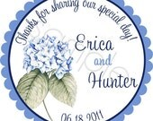 Hydrangea Blossoms Bouquet Personalized Stickers - Favor Labels, Wedding, Birthday, Bridal Shower, Announcements - Choice of Size